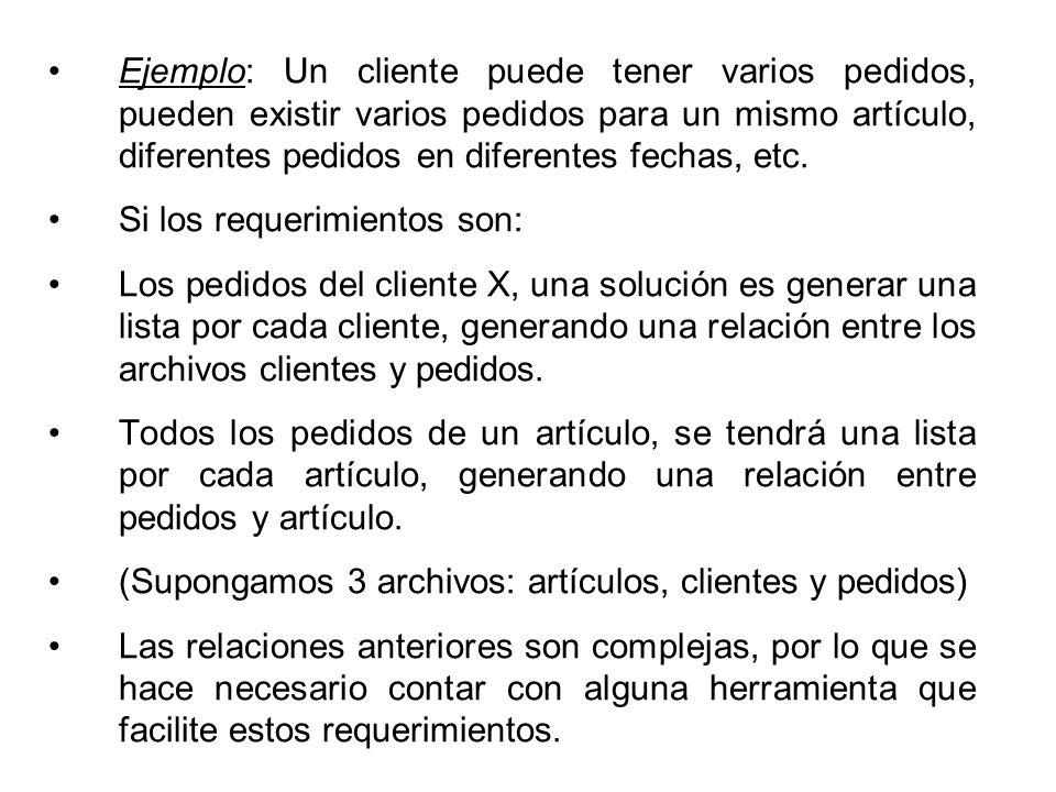 Ejemplo: Un cliente puede tener varios pedidos, pueden existir varios pedidos para un mismo artículo, diferentes pedidos en diferentes fechas, etc.