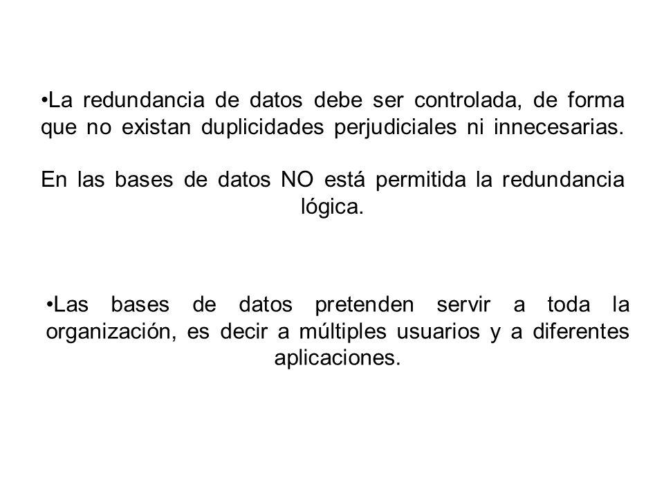 La redundancia de datos debe ser controlada, de forma que no existan duplicidades perjudiciales ni innecesarias.