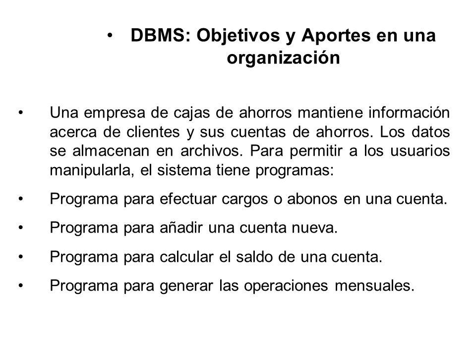 DBMS: Objetivos y Aportes en una organización Una empresa de cajas de ahorros mantiene información acerca de clientes y sus cuentas de ahorros.
