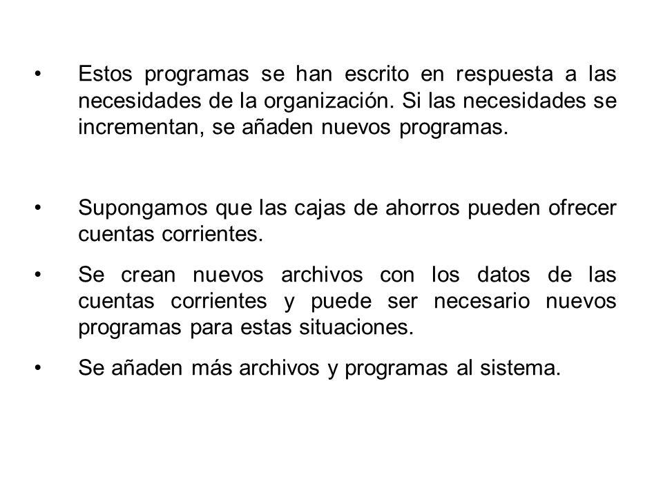 Estos programas se han escrito en respuesta a las necesidades de la organización.
