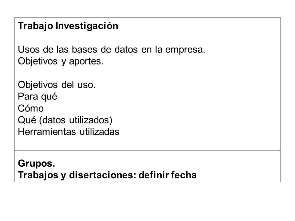 Trabajo Investigación Usos de las bases de datos en la empresa.