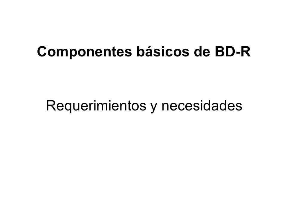 Componentes básicos de BD-R Requerimientos y necesidades