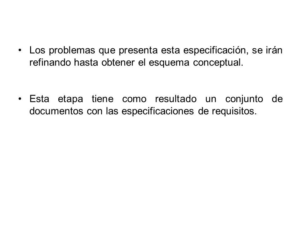 Los problemas que presenta esta especificación, se irán refinando hasta obtener el esquema conceptual.