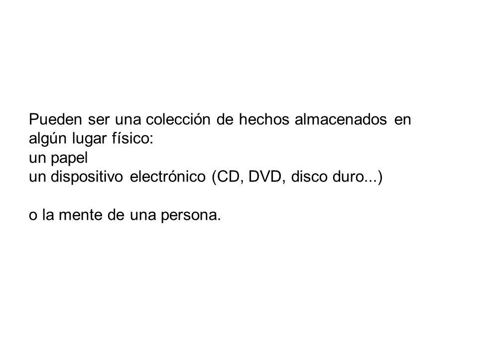 Pueden ser una colección de hechos almacenados en algún lugar físico: un papel un dispositivo electrónico (CD, DVD, disco duro...) o la mente de una persona.