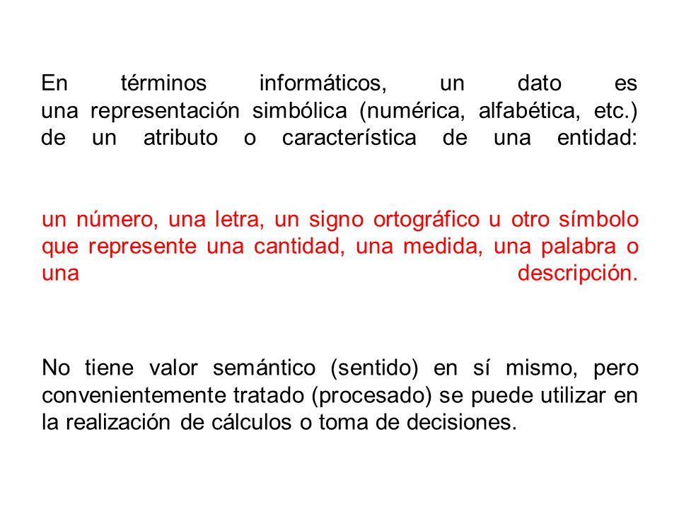 En términos informáticos, un dato es una representación simbólica (numérica, alfabética, etc.) de un atributo o característica de una entidad: No tiene valor semántico (sentido) en sí mismo, pero convenientemente tratado (procesado) se puede utilizar en la realización de cálculos o toma de decisiones.