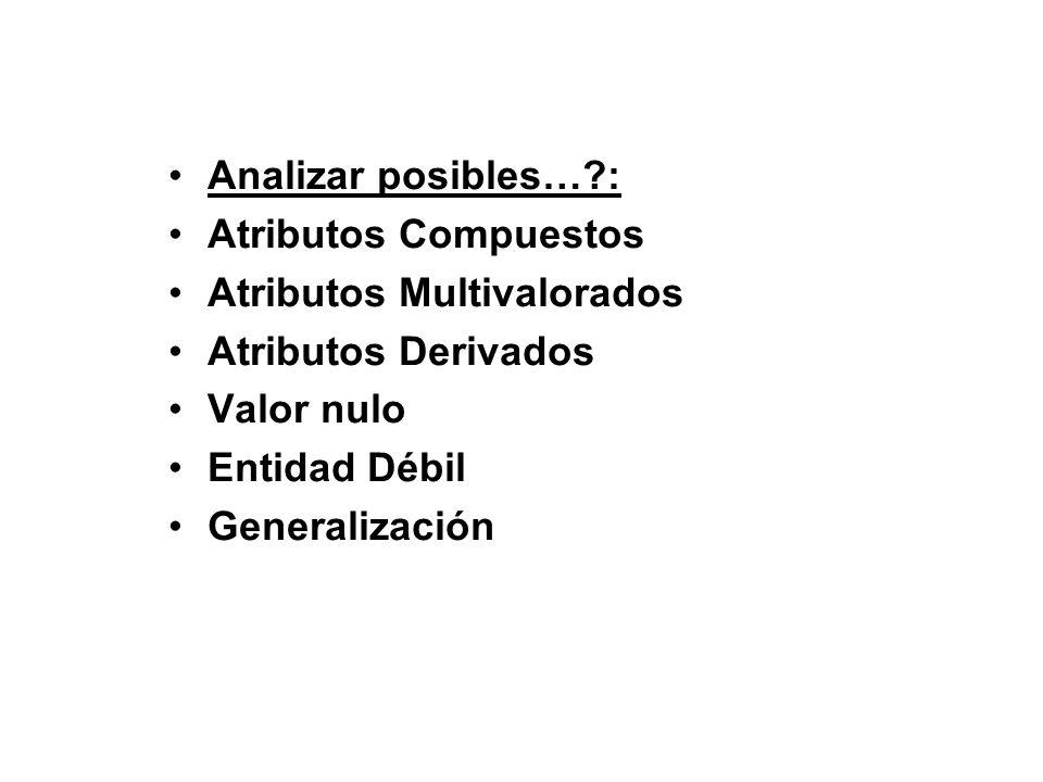 Analizar posibles…?: Atributos Compuestos Atributos Multivalorados Atributos Derivados Valor nulo Entidad Débil Generalización