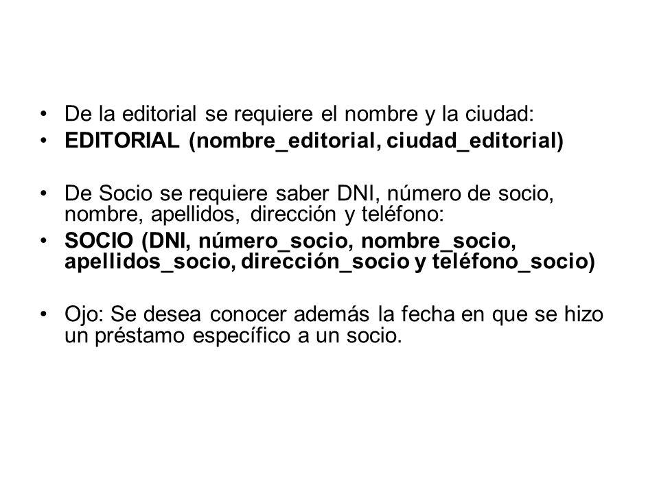 De la editorial se requiere el nombre y la ciudad: EDITORIAL (nombre_editorial, ciudad_editorial) De Socio se requiere saber DNI, número de socio, nom