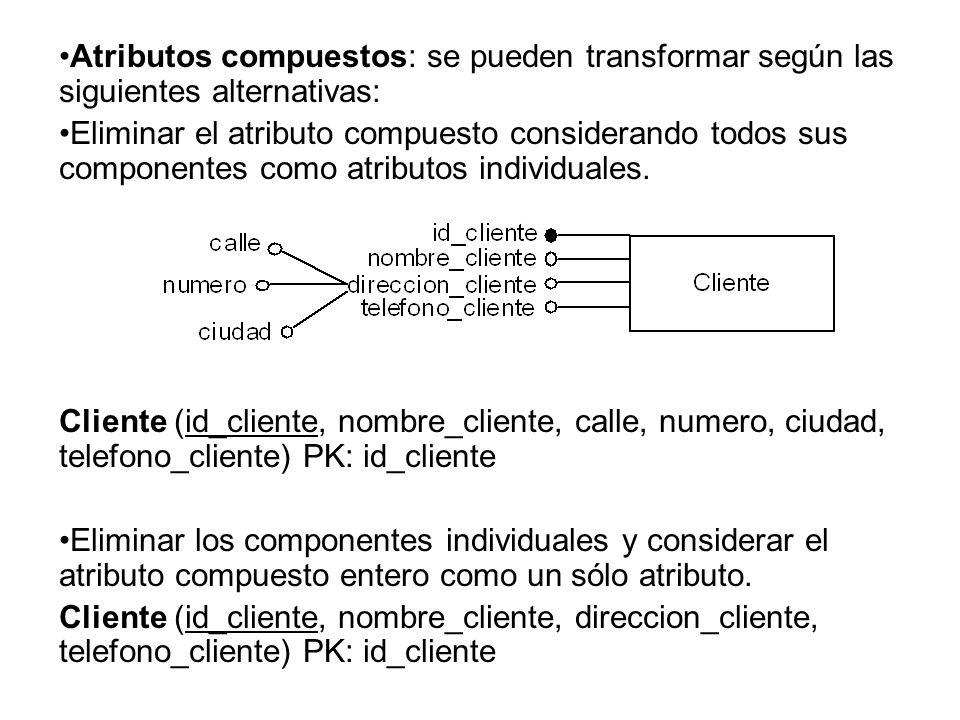 Atributos compuestos: se pueden transformar según las siguientes alternativas: Eliminar el atributo compuesto considerando todos sus componentes como