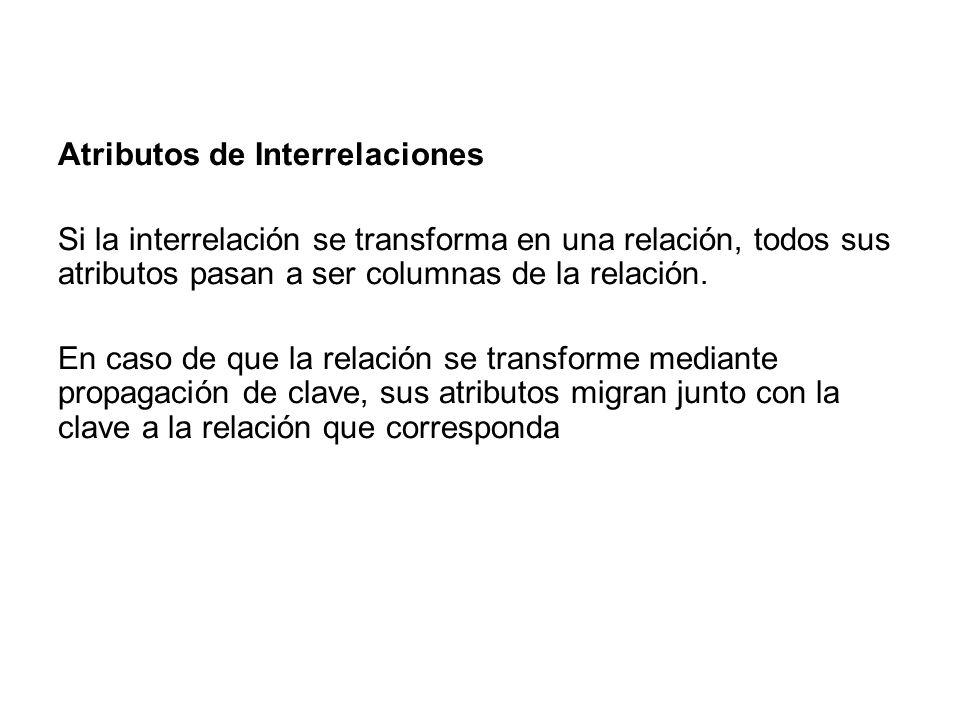 Atributos de Interrelaciones Si la interrelación se transforma en una relación, todos sus atributos pasan a ser columnas de la relación. En caso de qu