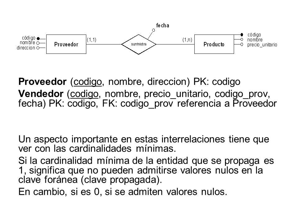 Proveedor (codigo, nombre, direccion) PK: codigo Vendedor (codigo, nombre, precio_unitario, codigo_prov, fecha) PK: codigo, FK: codigo_prov referencia