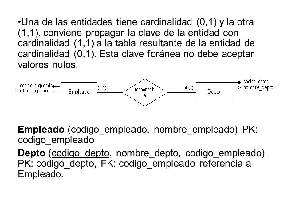 Una de las entidades tiene cardinalidad (0,1) y la otra (1,1), conviene propagar la clave de la entidad con cardinalidad (1,1) a la tabla resultante d