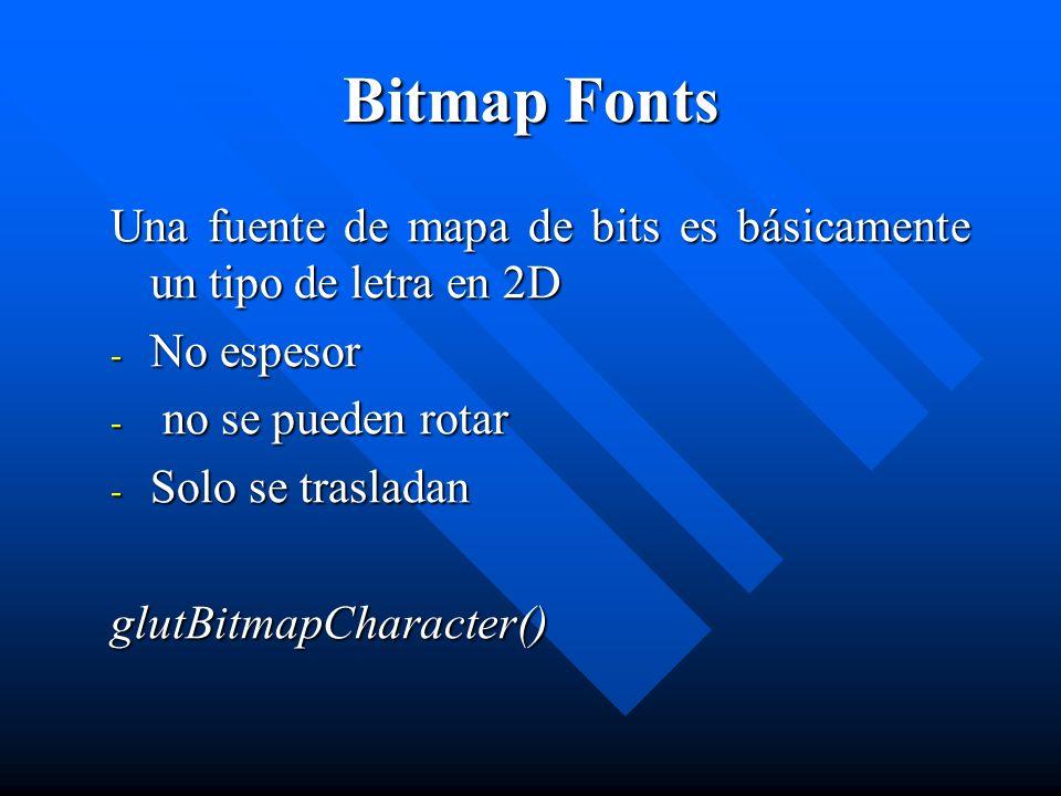 La sintaxis es la siguiente: void glutBitmapCharacter(void *font, int character) Parameters: font - el nombre de la fuente a utilizar character - una letra, símbolo, el número, etc