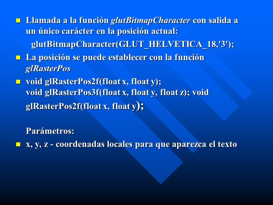 Llamada a la función glutBitmapCharacter con salida a un único carácter en la posición actual: glutBitmapCharacter(GLUT_HELVETICA_18,'3'); La posición
