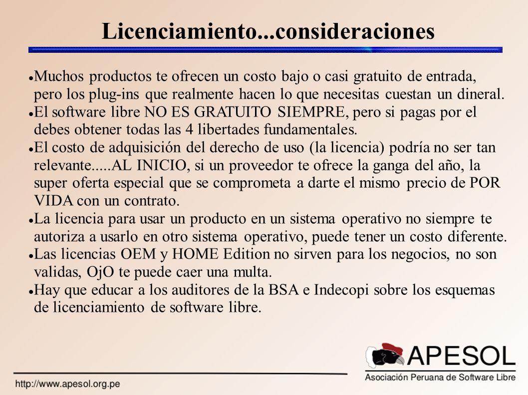 Licenciamiento...consideraciones Muchos productos te ofrecen un costo bajo o casi gratuito de entrada, pero los plug-ins que realmente hacen lo que ne