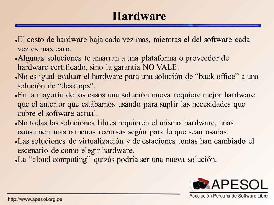 Hardware El costo de hardware baja cada vez mas, mientras el del software cada vez es mas caro. Algunas soluciones te amarran a una plataforma o prove