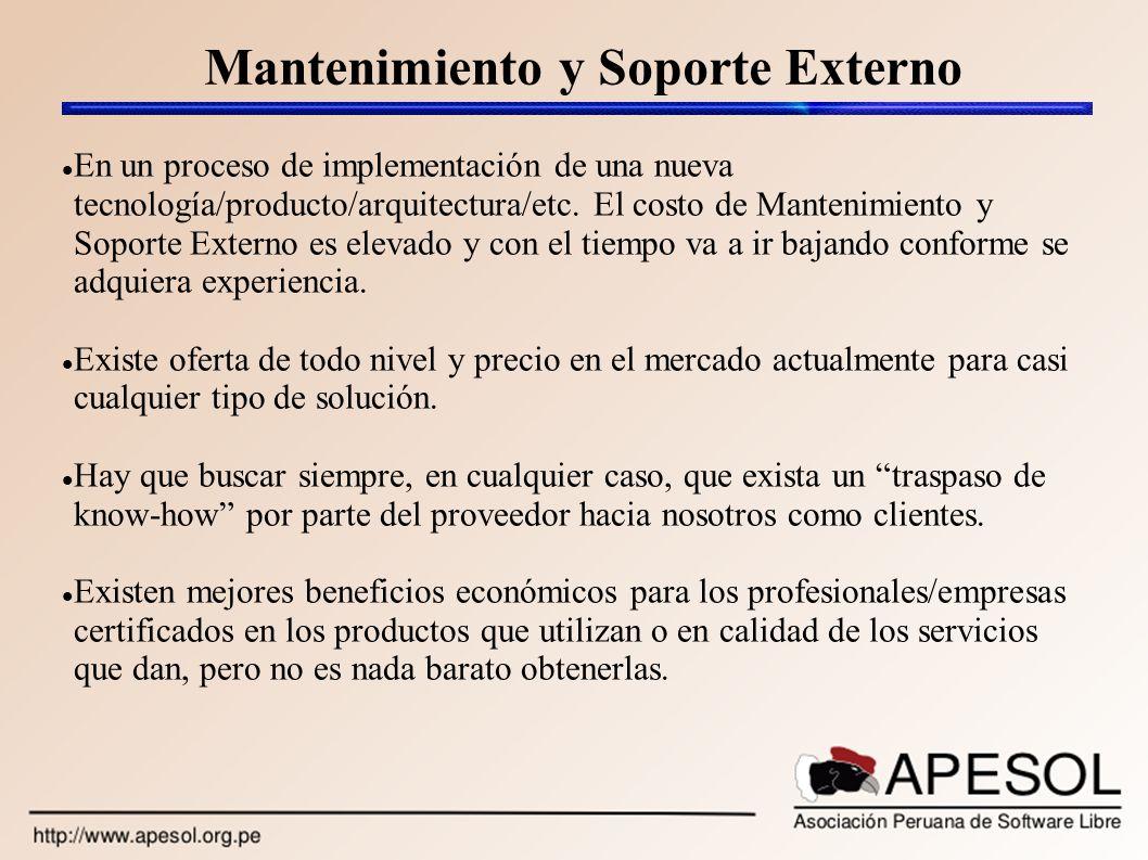 Mantenimiento y Soporte Externo En un proceso de implementación de una nueva tecnología/producto/arquitectura/etc. El costo de Mantenimiento y Soporte