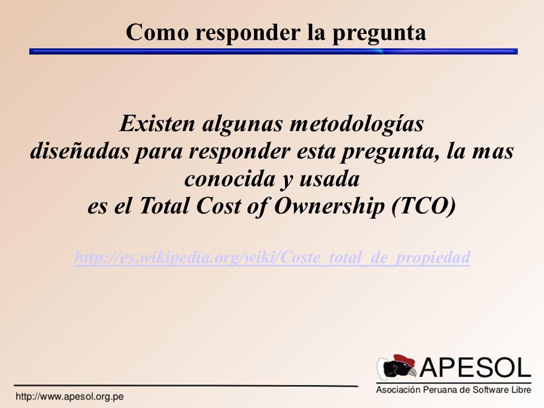 Como responder la pregunta Existen algunas metodologías diseñadas para responder esta pregunta, la mas conocida y usada es el Total Cost of Ownership