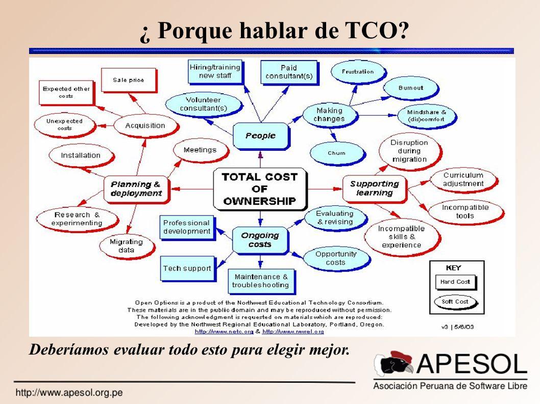 ¿ Porque hablar de TCO? Deberíamos evaluar todo esto para elegir mejor.