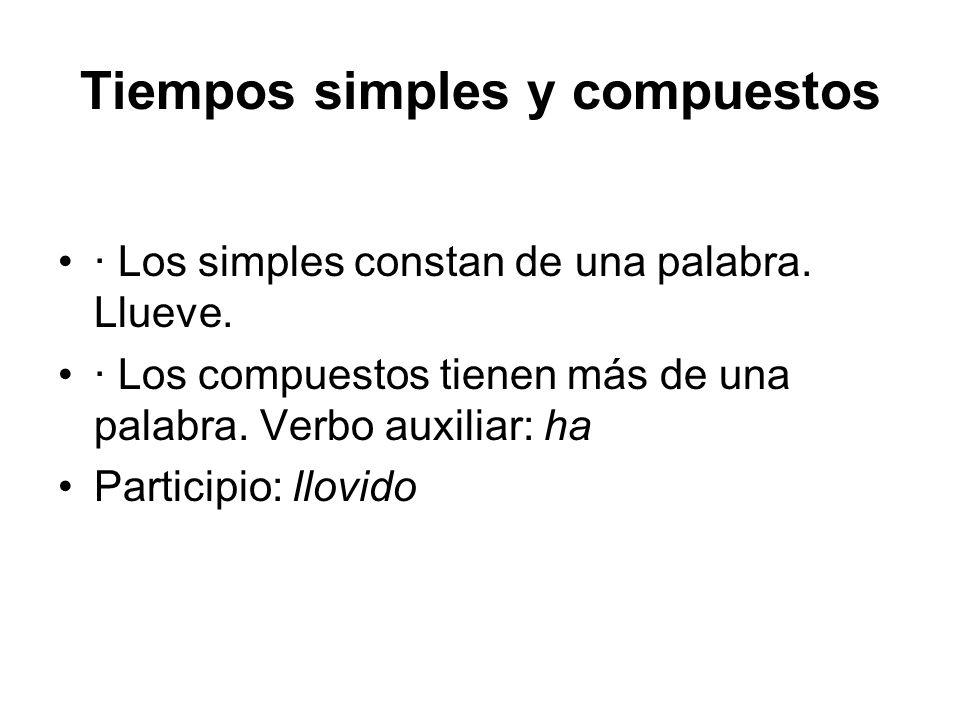 Tiempos simples y compuestos · Los simples constan de una palabra. Llueve. · Los compuestos tienen más de una palabra. Verbo auxiliar: ha Participio: