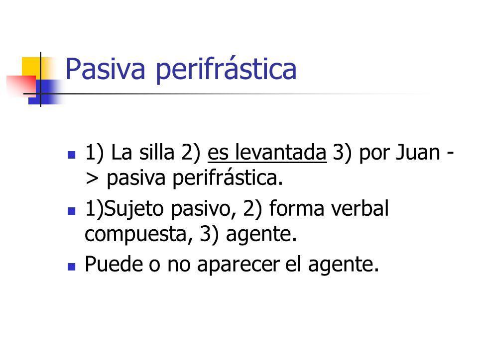 Pasiva perifrástica 1) La silla 2) es levantada 3) por Juan - > pasiva perifrástica. 1)Sujeto pasivo, 2) forma verbal compuesta, 3) agente. Puede o no