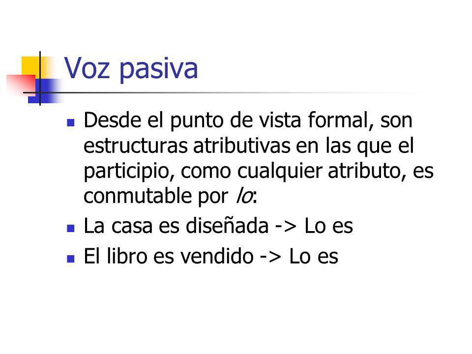 Voz pasiva Desde el punto de vista formal, son estructuras atributivas en las que el participio, como cualquier atributo, es conmutable por lo: La cas