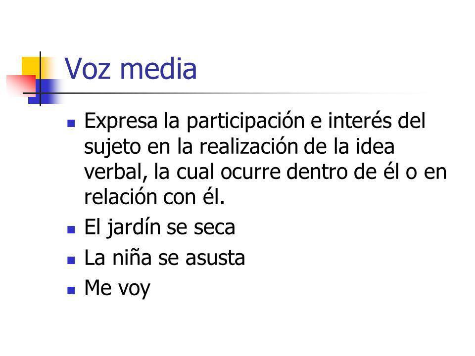 Voz media Expresa la participación e interés del sujeto en la realización de la idea verbal, la cual ocurre dentro de él o en relación con él. El jard