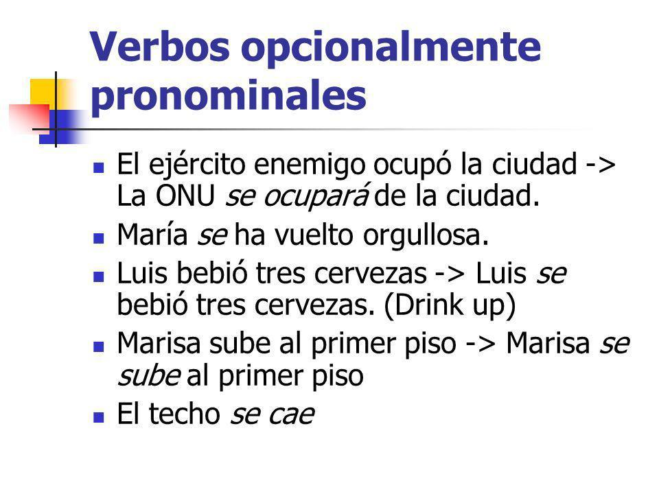 Verbos opcionalmente pronominales Luis se va.