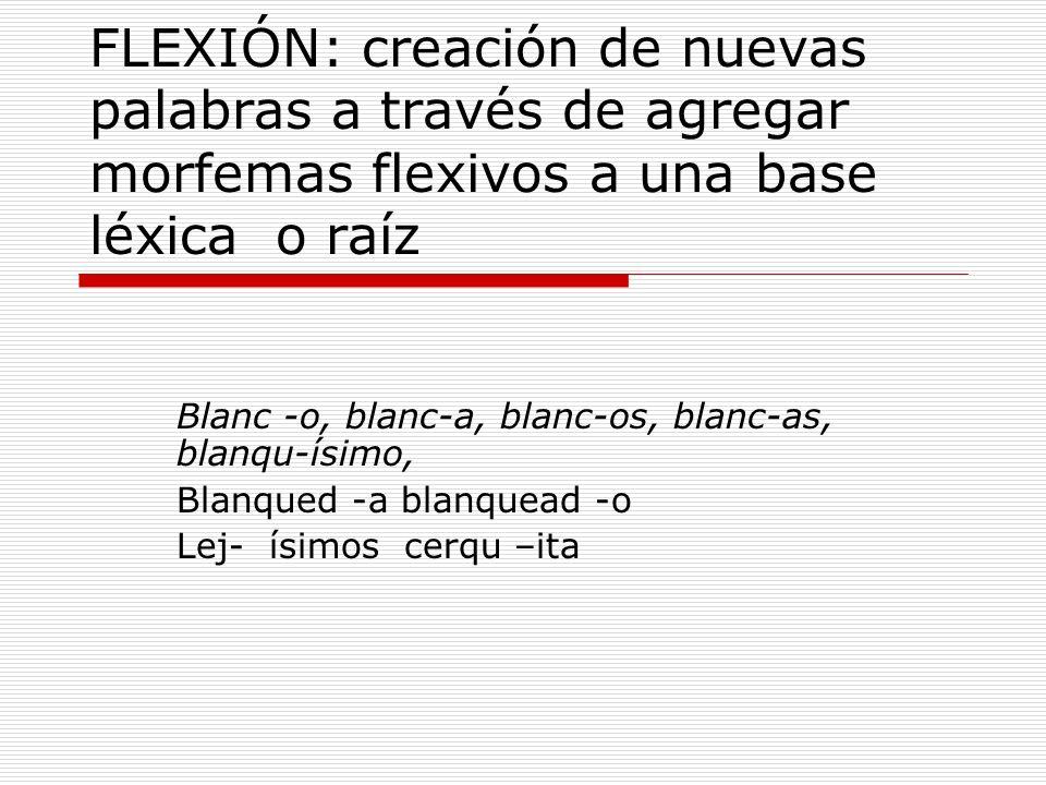 FLEXIÓN: creación de nuevas palabras a través de agregar morfemas flexivos a una base léxica o raíz Blanc -o, blanc-a, blanc-os, blanc-as, blanqu-ísim