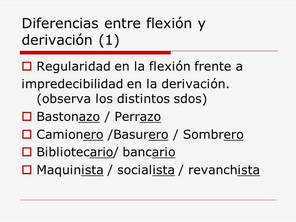 Diferencias entre flexión y derivación (1) Regularidad en la flexión frente a impredecibilidad en la derivación. (observa los distintos sdos) Bastonaz