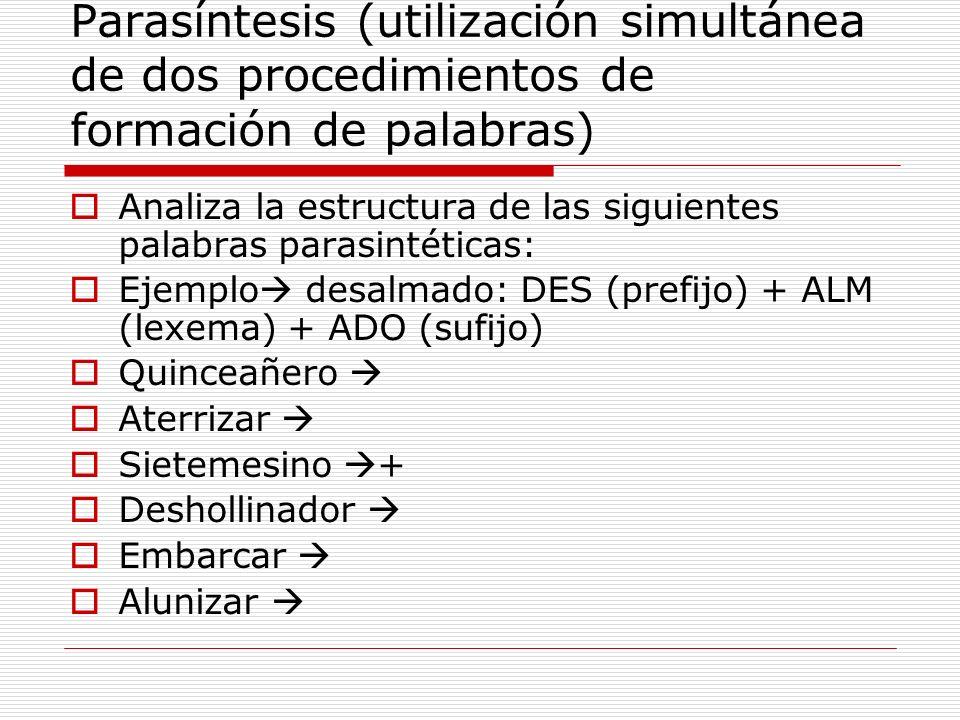 Parasíntesis (utilización simultánea de dos procedimientos de formación de palabras) Analiza la estructura de las siguientes palabras parasintéticas: