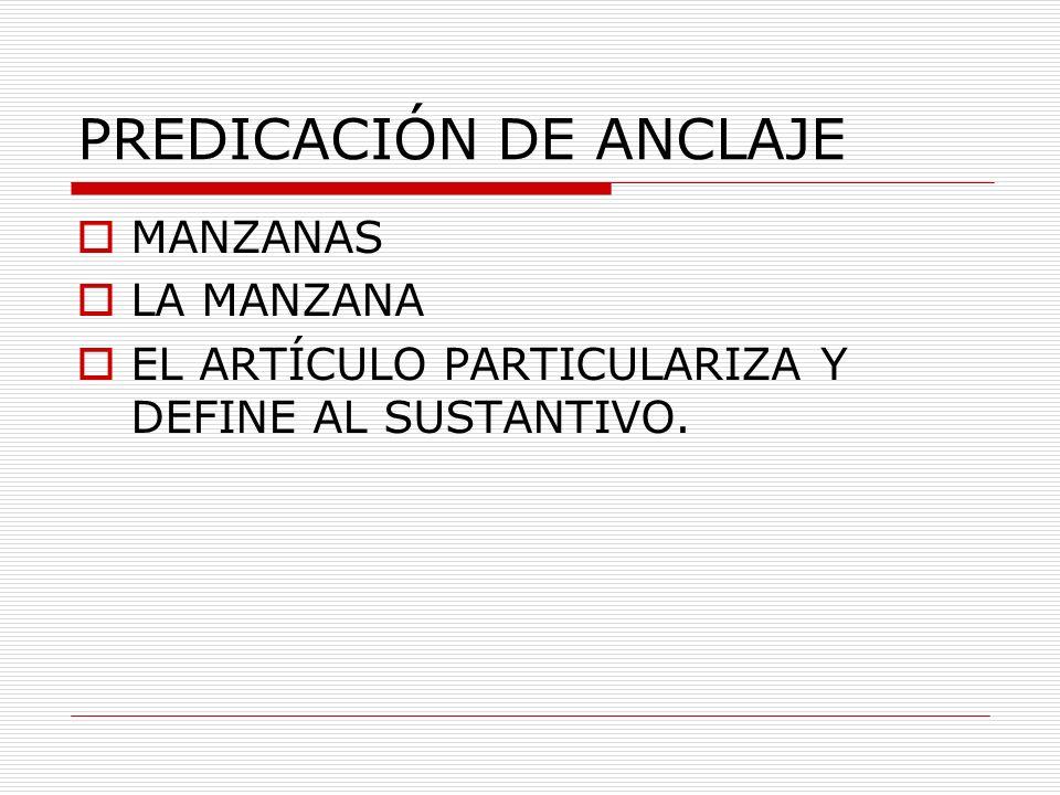 PREDICACIÓN DE ANCLAJE MANZANAS LA MANZANA EL ARTÍCULO PARTICULARIZA Y DEFINE AL SUSTANTIVO.