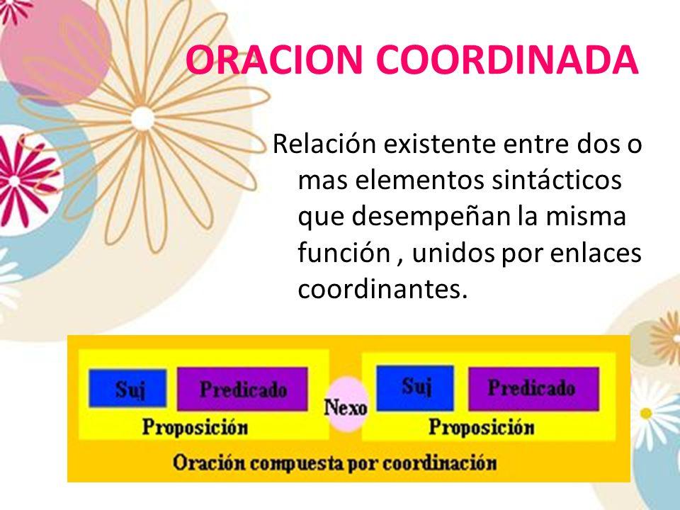 ORACION COORDINADA Relación existente entre dos o mas elementos sintácticos que desempeñan la misma función, unidos por enlaces coordinantes.