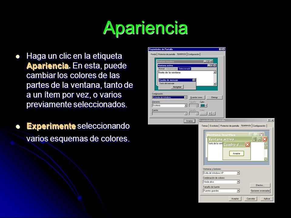 Apariencia Haga un clic en la etiqueta Apariencia. En esta, puede cambiar los colores de las partes de la ventana, tanto de a un ítem por vez, o vario