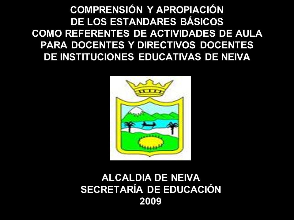 COMPRENSIÓN Y APROPIACIÓN DE LOS ESTANDARES BÁSICOS COMO REFERENTES DE ACTIVIDADES DE AULA PARA DOCENTES Y DIRECTIVOS DOCENTES DE INSTITUCIONES EDUCAT