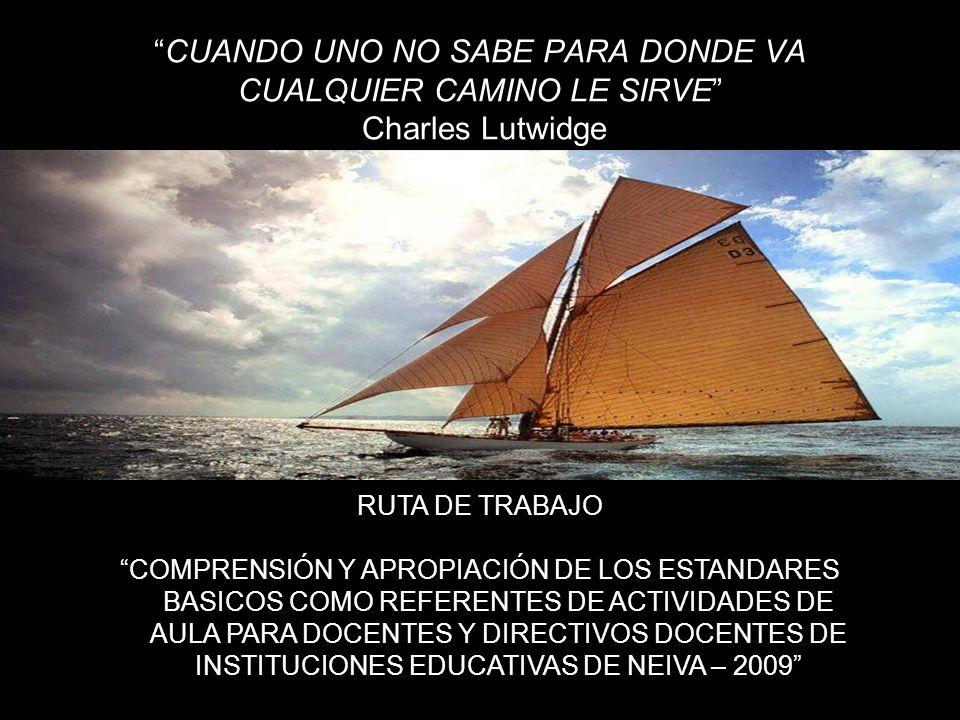 CUANDO UNO NO SABE PARA DONDE VA CUALQUIER CAMINO LE SIRVE Charles Lutwidge RUTA DE TRABAJO COMPRENSIÓN Y APROPIACIÓN DE LOS ESTANDARES BASICOS COMO R