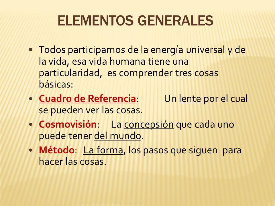 ELEMENTOS GENERALES Todos participamos de la energía universal y de la vida, esa vida humana tiene una particularidad, es comprender tres cosas básica