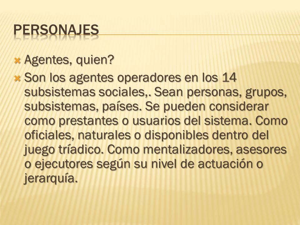 Agentes, quien? Agentes, quien? Son los agentes operadores en los 14 subsistemas sociales,. Sean personas, grupos, subsistemas, países. Se pueden cons