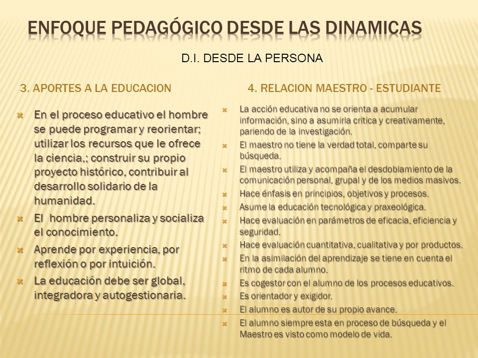 3. APORTES A LA EDUCACION4. RELACION MAESTRO - ESTUDIANTE En el proceso educativo el hombre se puede programar y reorientar; utilizar los recursos que