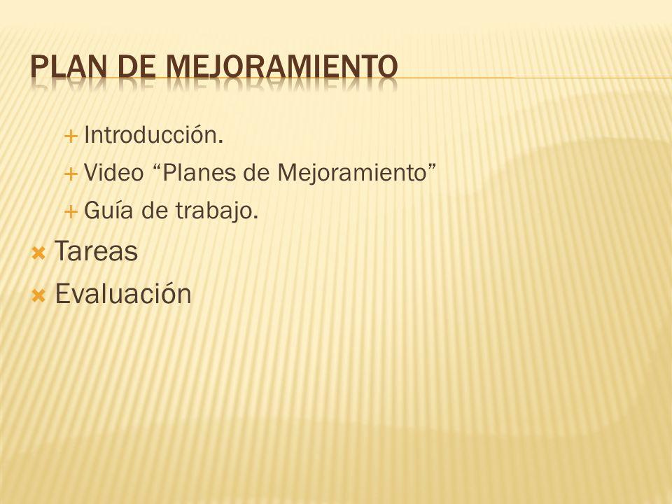 Introducción. Video Planes de Mejoramiento Guía de trabajo. Tareas Evaluación