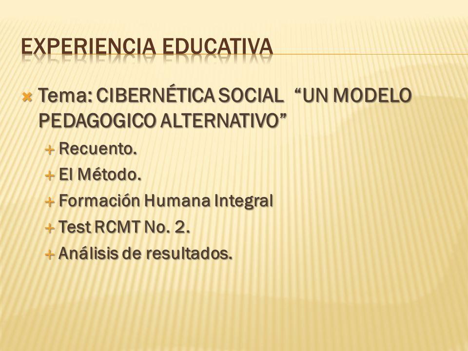 Tema: CIBERNÉTICA SOCIAL UN MODELO PEDAGOGICO ALTERNATIVO Tema: CIBERNÉTICA SOCIAL UN MODELO PEDAGOGICO ALTERNATIVO Recuento. Recuento. El Método. El
