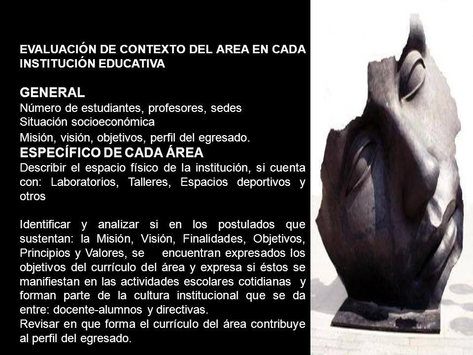 EVALUACIÓN DE CONTEXTO DEL AREA EN CADA INSTITUCIÓN EDUCATIVA GENERAL Número de estudiantes, profesores, sedes Situación socioeconómica Misión, visión
