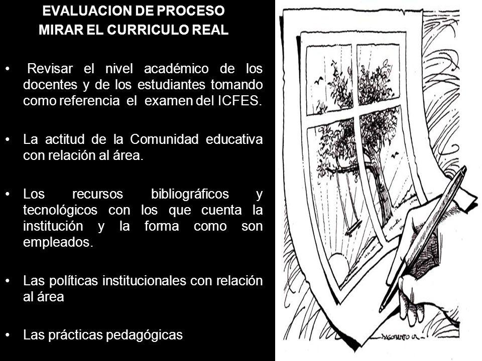 EVALUACION DE PROCESO MIRAR EL CURRICULO REAL Revisar el nivel académico de los docentes y de los estudiantes tomando como referencia el examen deI IC