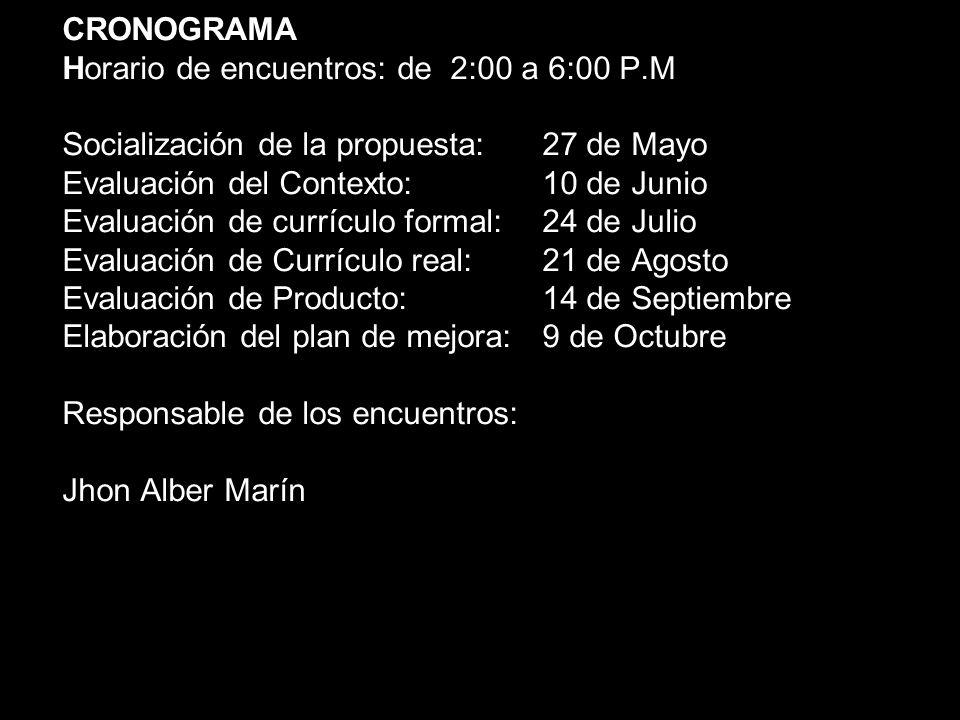 CRONOGRAMA Horario de encuentros: de 2:00 a 6:00 P.M Socialización de la propuesta: 27 de Mayo Evaluación del Contexto: 10 de Junio Evaluación de curr