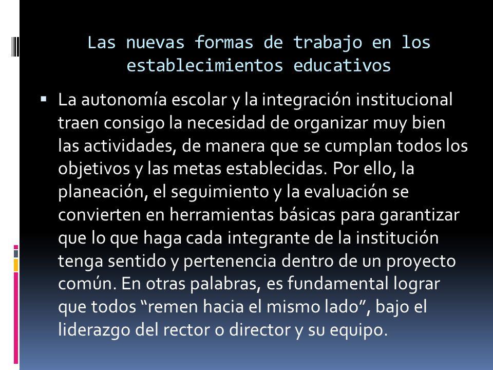 Las nuevas formas de trabajo en los establecimientos educativos La autonomía escolar y la integración institucional traen consigo la necesidad de organizar muy bien las actividades, de manera que se cumplan todos los objetivos y las metas establecidas.