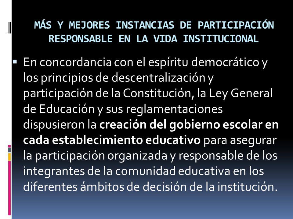 MÁS Y MEJORES INSTANCIAS DE PARTICIPACIÓN RESPONSABLE EN LA VIDA INSTITUCIONAL En concordancia con el espíritu democrático y los principios de descent