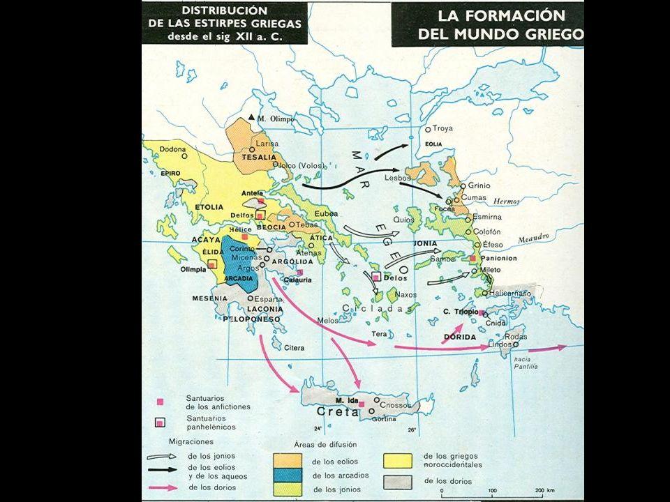 La civilización griega se desarrolla con la intromisión de pueblos indoeuropeos (aqueos, dorios, jonios) en diferentes oleadas que se mezclan con las antiguas civilizaciones de la zona.