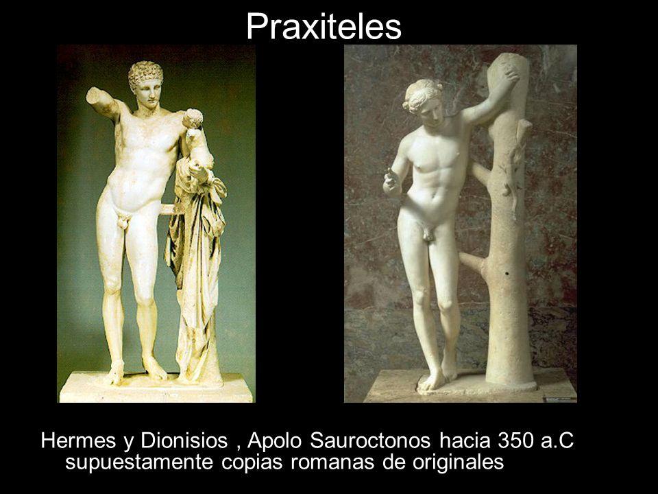 Praxiteles Hermes y Dionisios, Apolo Sauroctonos hacia 350 a.C supuestamente copias romanas de originales