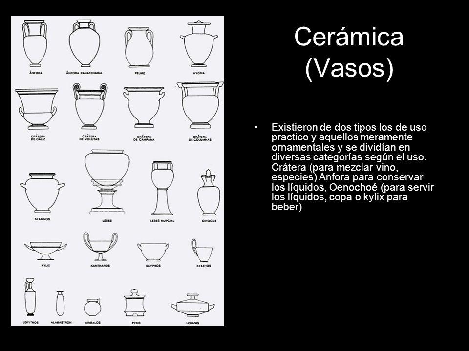 Cerámica (Vasos) Existieron de dos tipos los de uso practico y aquellos meramente ornamentales y se dividían en diversas categorías según el uso. Crát