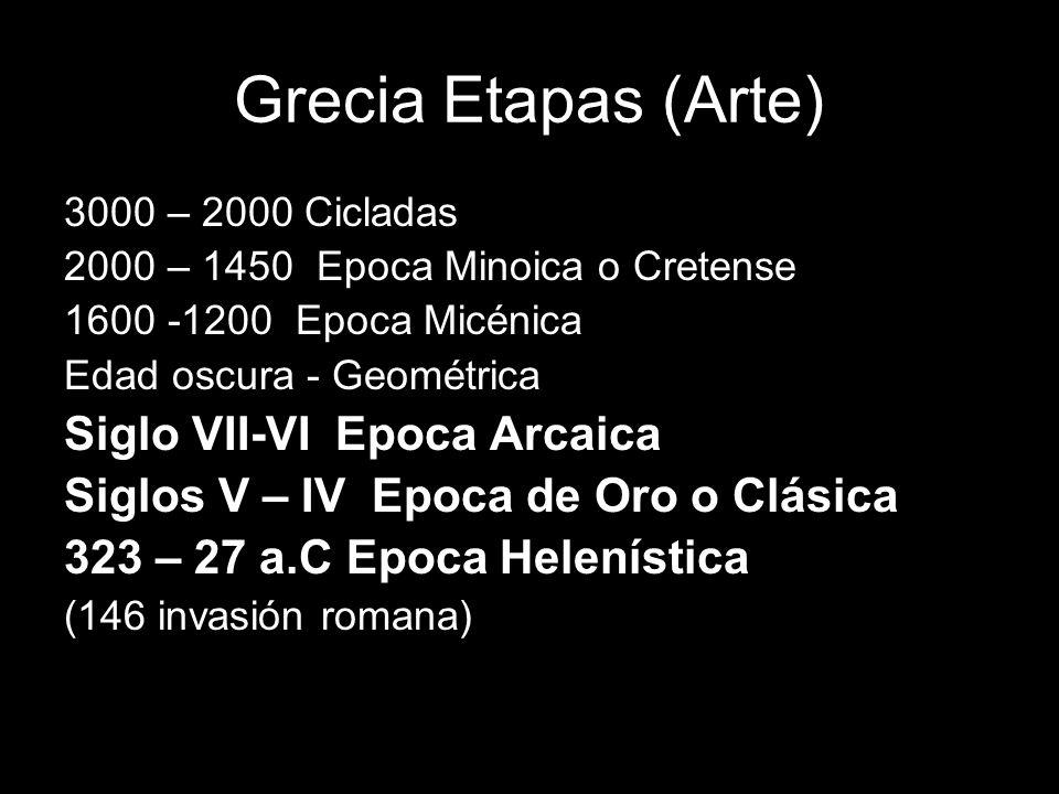 Grecia Etapas (Arte) 3000 – 2000 Cicladas 2000 – 1450 Epoca Minoica o Cretense 1600 -1200 Epoca Micénica Edad oscura - Geométrica Siglo VII-VI Epoca A