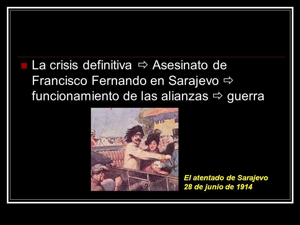 La crisis definitiva Asesinato de Francisco Fernando en Sarajevo funcionamiento de las alianzas guerra El atentado de Sarajevo 28 de junio de 1914